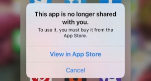 This App is No Longer Shared iOS Bug