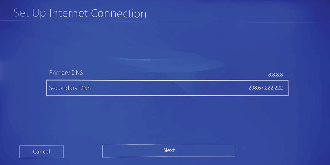 How do I fix DNS error on PS4 or PS5 manual DNS configuration